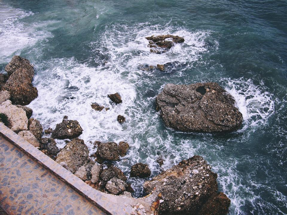 ocean, sea, waves, water, rocks, boulders, coast, path