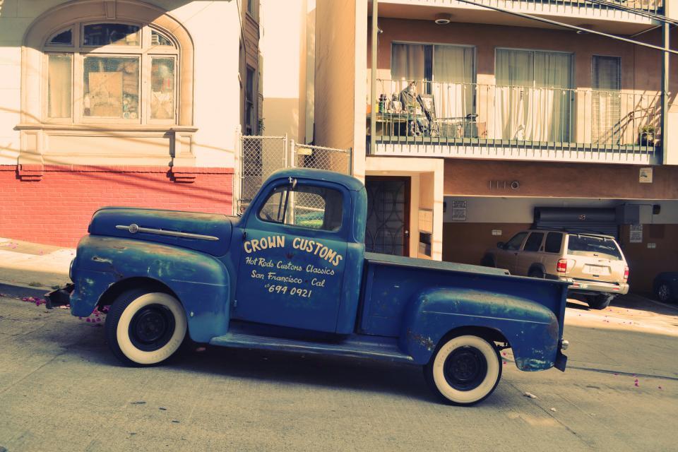 blue, truck, street, sidewalk, house, wheels, tires