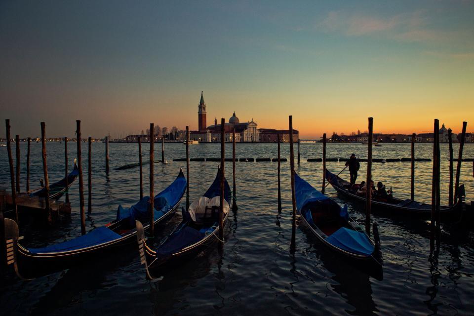 Venice, gondolas, boats, water, sunset, dusk, Italy, sky