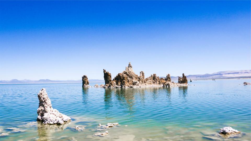lake, water, blue, sky, rocks, shore, mountains