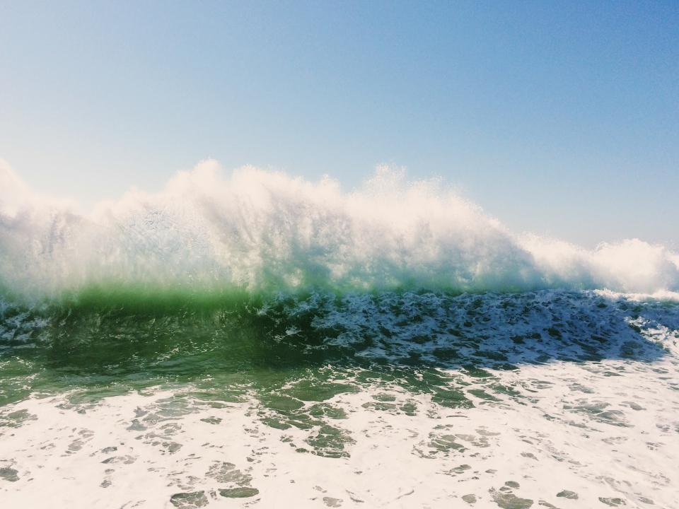 waves, splash, water, ocean, sea, sunny