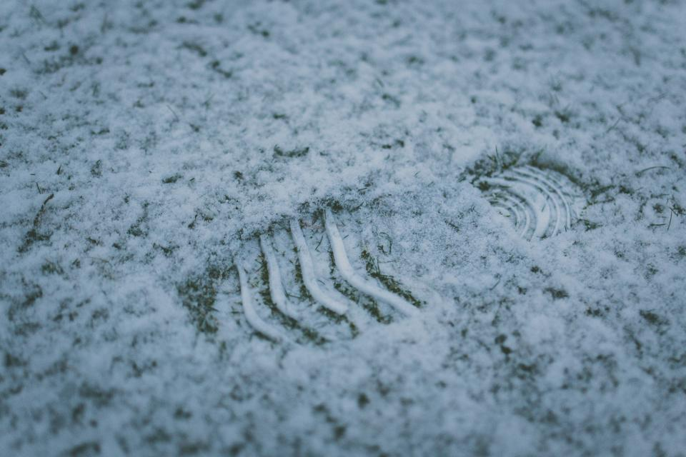shoeprint, footprint, snow, ground, winter, cold