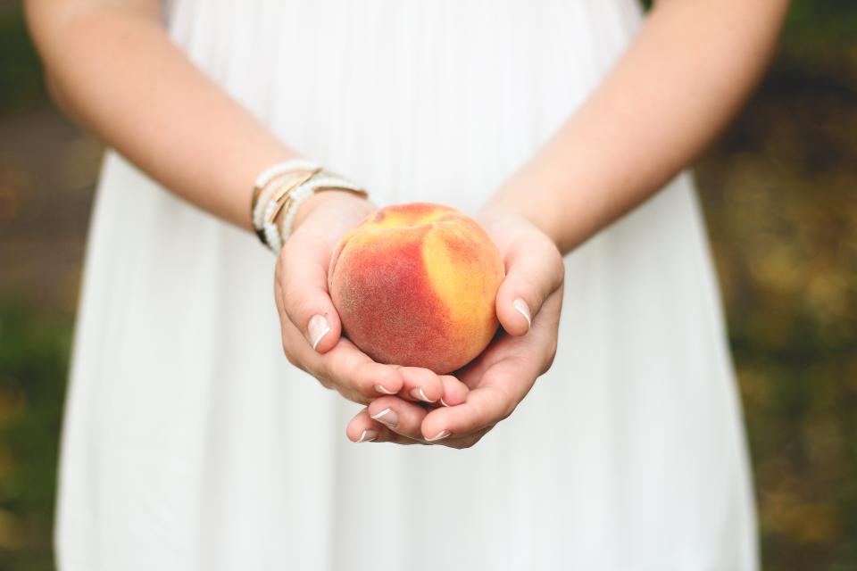 peach, fruit, hands