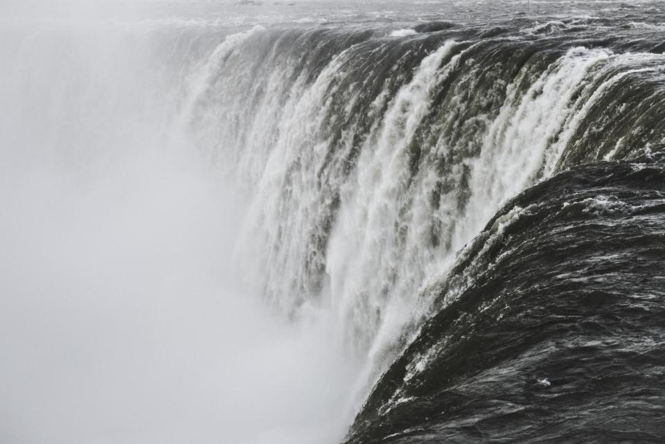 nature, water, raging, waterfalls, white, black