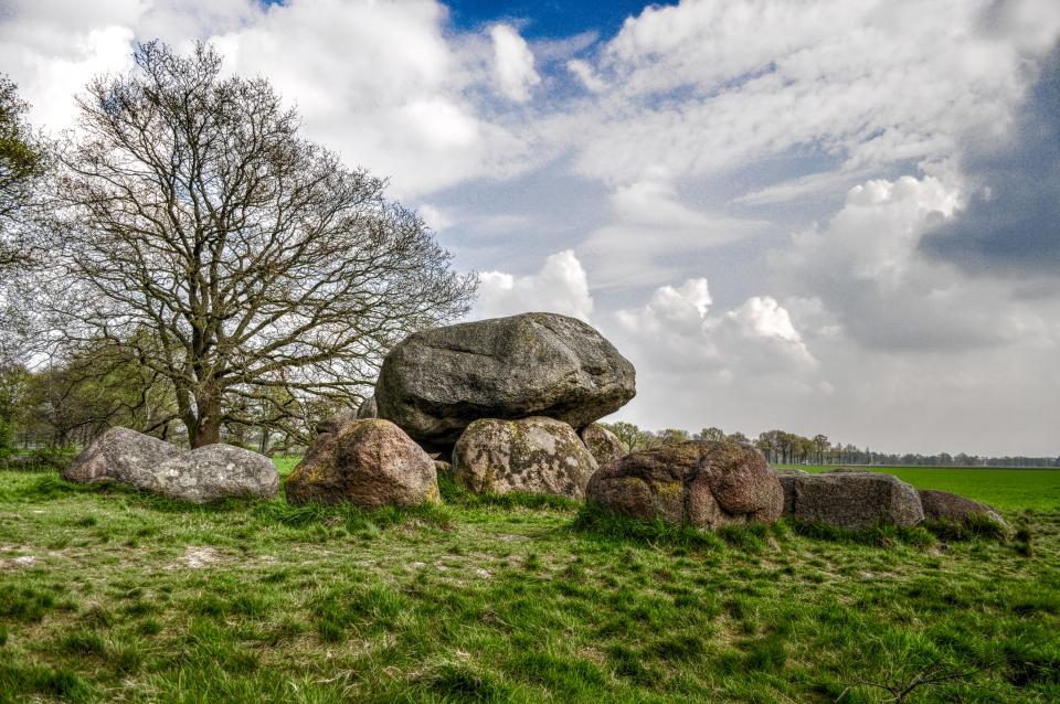 rocks, trees, grass, field, sky, clouds, landscape