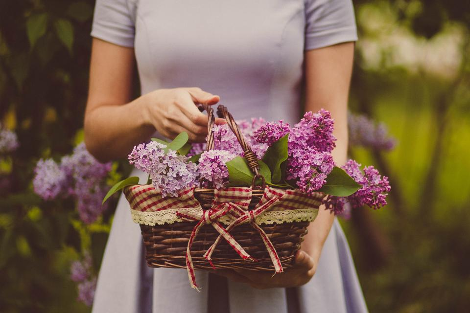 woman, people, dress, basket, woven, flowers, nature, outdoors, fashion