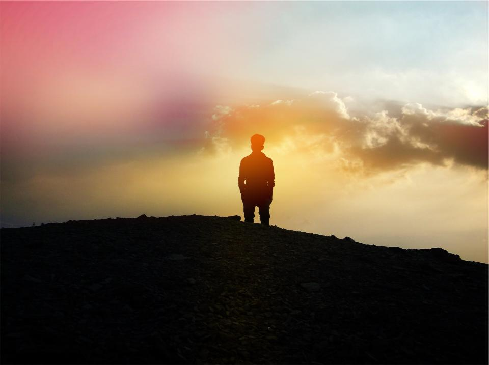 sunset, sky, clouds, silhouette, man, guy, people