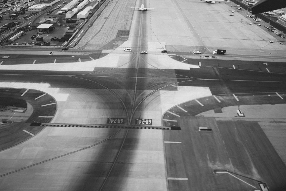 airport, runway, tarmac, airplanes, transportation, travel, black and white