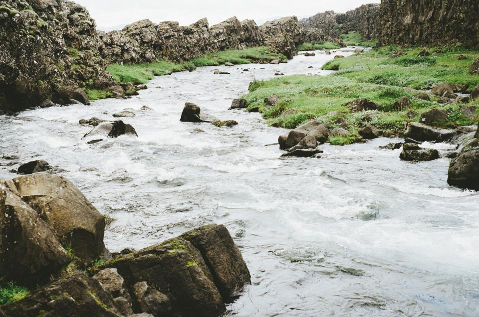 river, stream, water, rocks, boulders, grass, fields, nature, outdoors