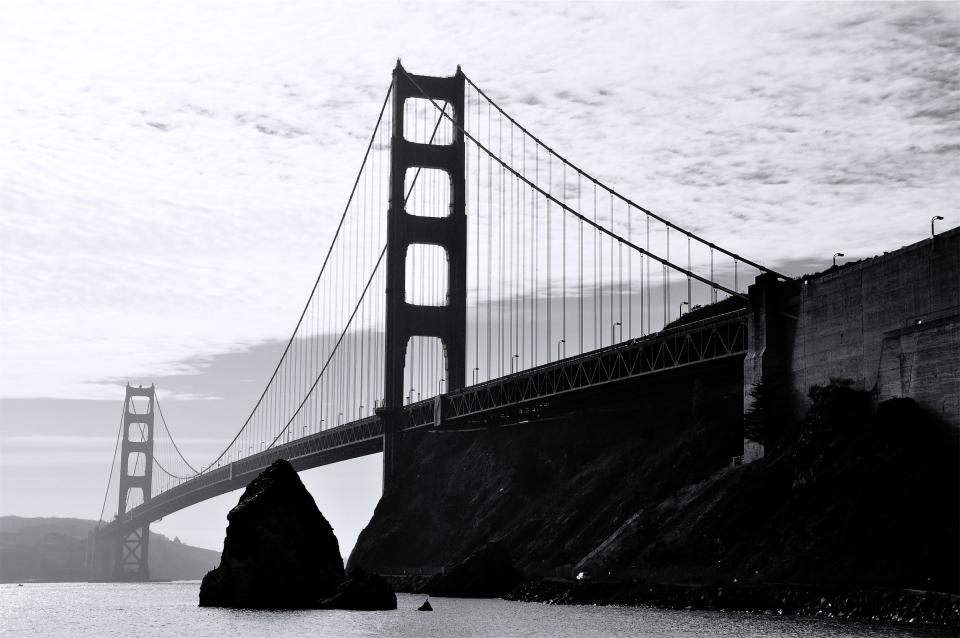 Golden Gate Bridge, San Francisco, California, United States, USA, architecture, water, ocean, black and white