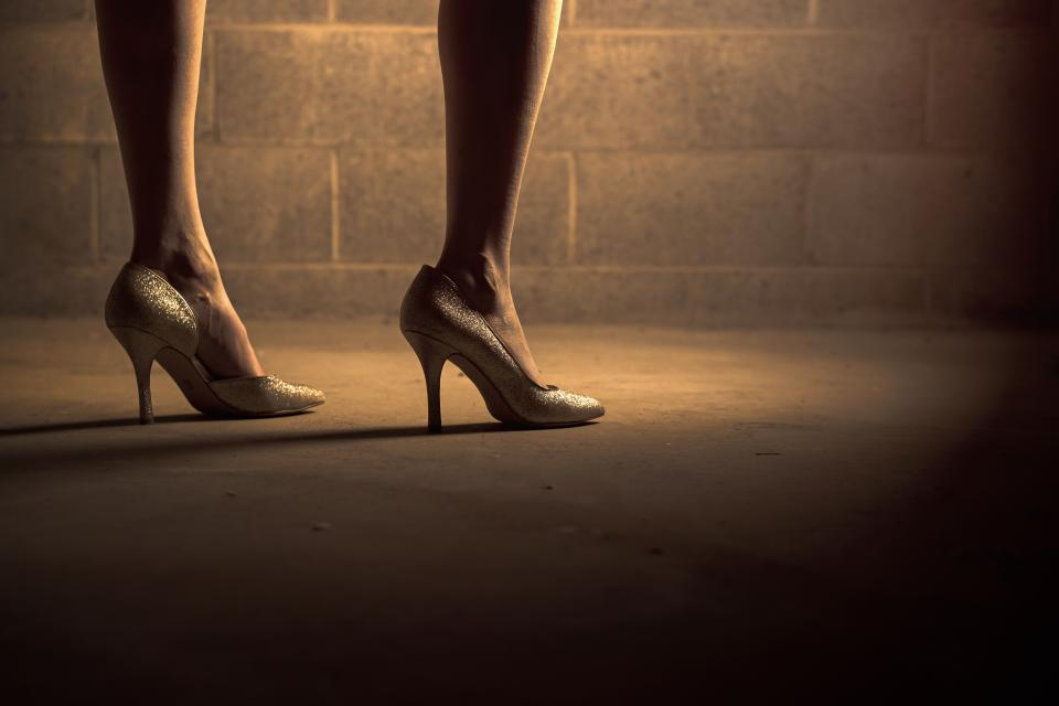 high heels, shoes, woman, girl, legs, feet, floor, concrete,