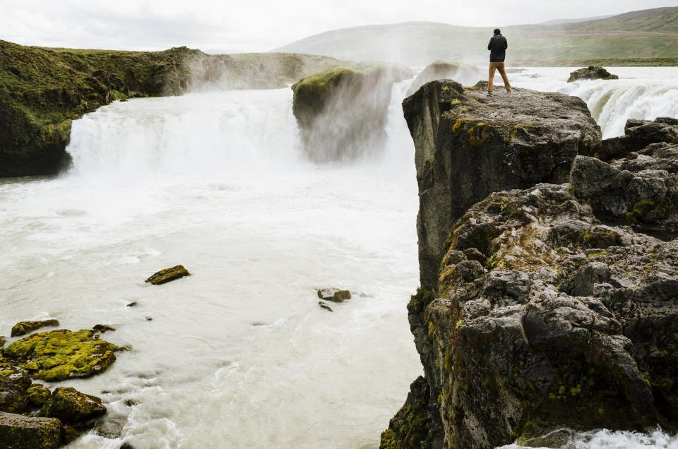 waterfall, water, mist, mountains, rocks, cliffs, stream, man