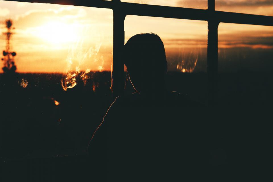 sunset, silhouette, people, windows, shadows, dusk