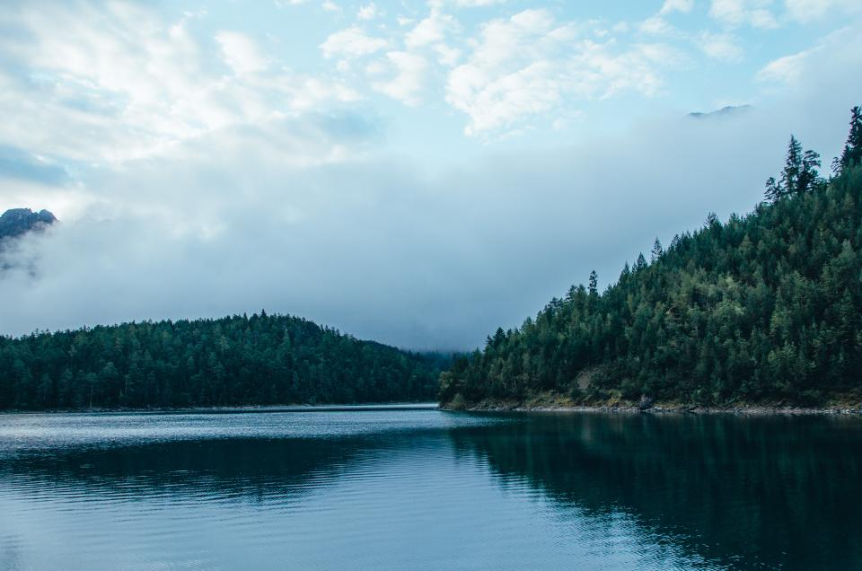 mountains, hills, trees, lake, water, landscape, nature, sky, clouds, forest, outdoors