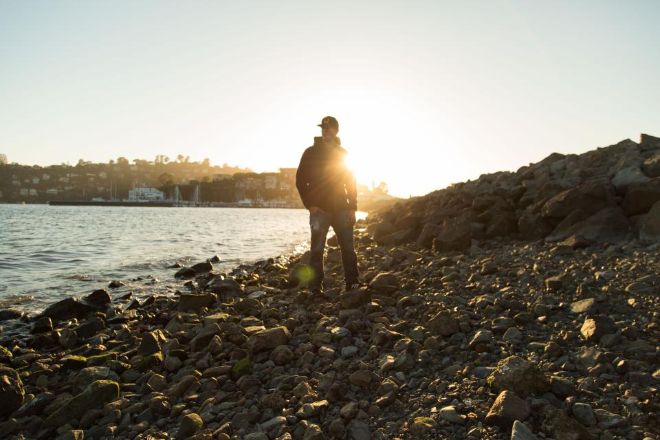 sunset, guy, looking, man, people, rocks, coast, lake, sky