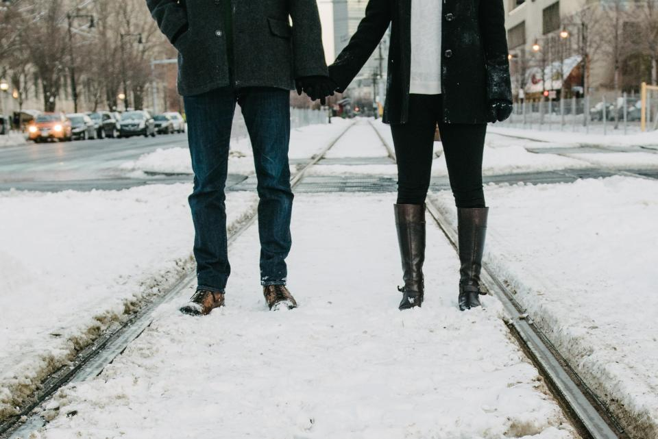 couple, love, romance, holding hands, girl, woman, guy, man, people, snow, boots, winter, cold, city, urban, streets, roads