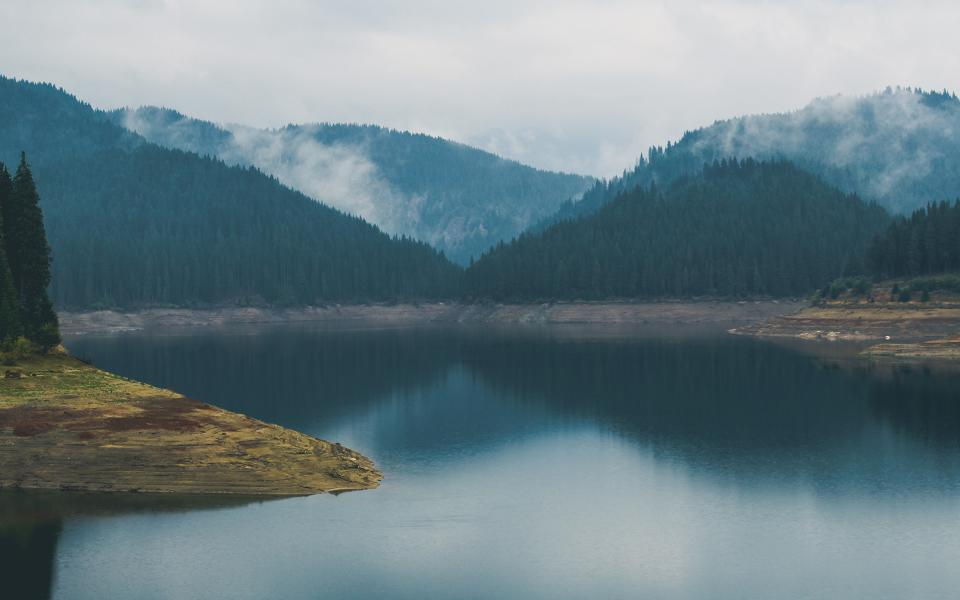 lake, river, water, trees, forest, foggy, clouds, landscape, nature, mountains, outdoors