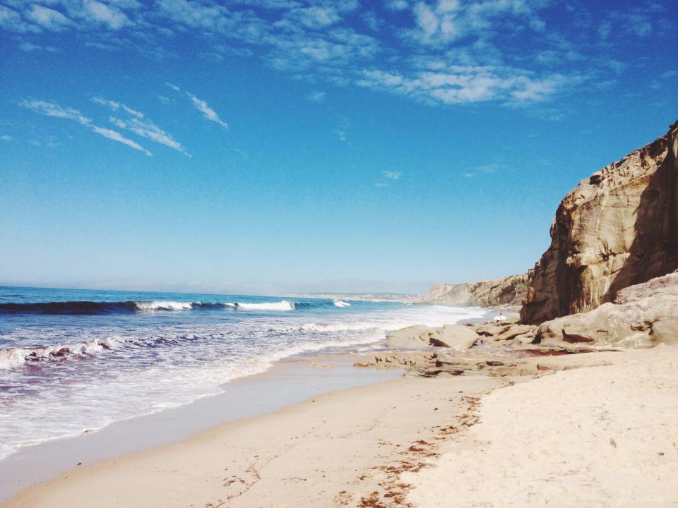 beach, sand, waves, shore, ocean, sea, sunshine, sunny, summer, blue, sky