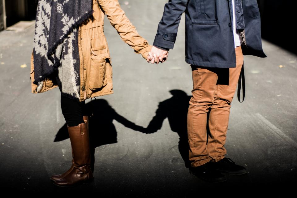 couple, love, romance, people, guy, man, girl, woman, holding hands, hands, fashion, shadow, sunshine, sunlight