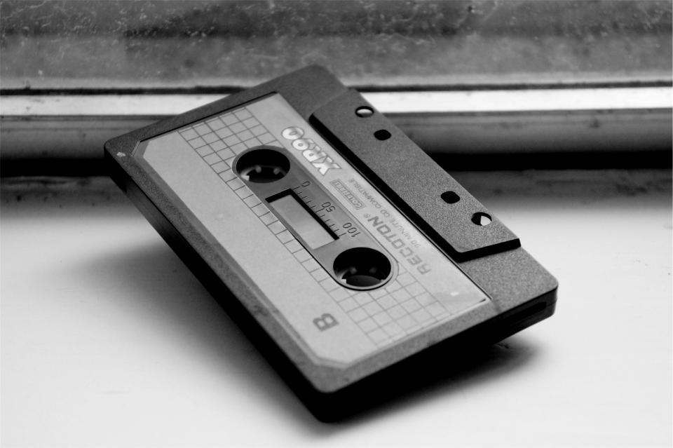 cassette, tape, audio, black and white