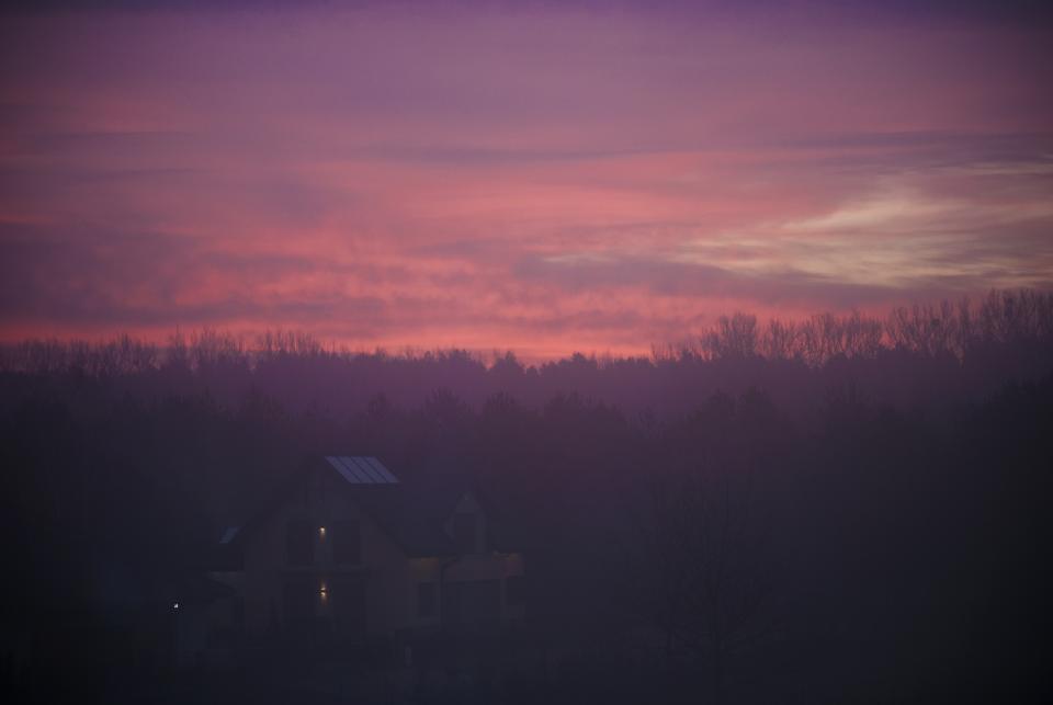 purple, pink, sunset, dusk, sky, trees, house, nature, landscape