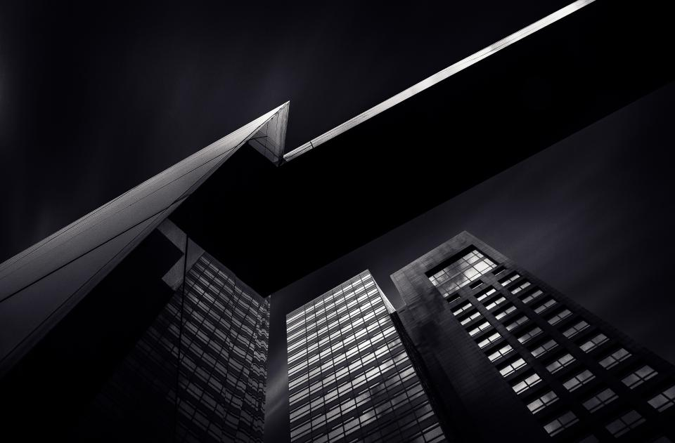 buildings, architecture, city, urban, corporate, business, dark, night, windows, high rises