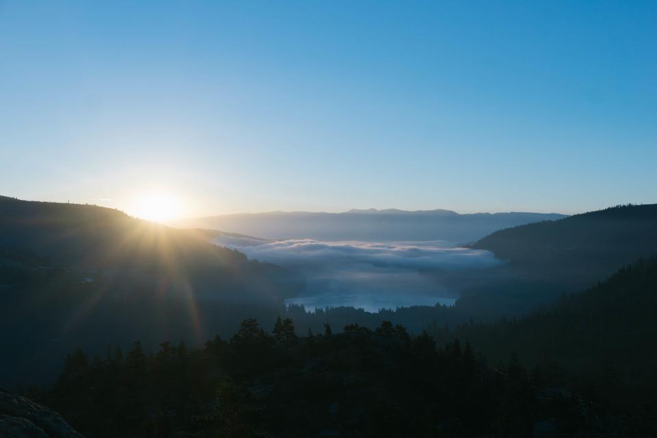 sunrise, morning, mountains, peaks, landscape, nature, outdoors, blue, sky, trees
