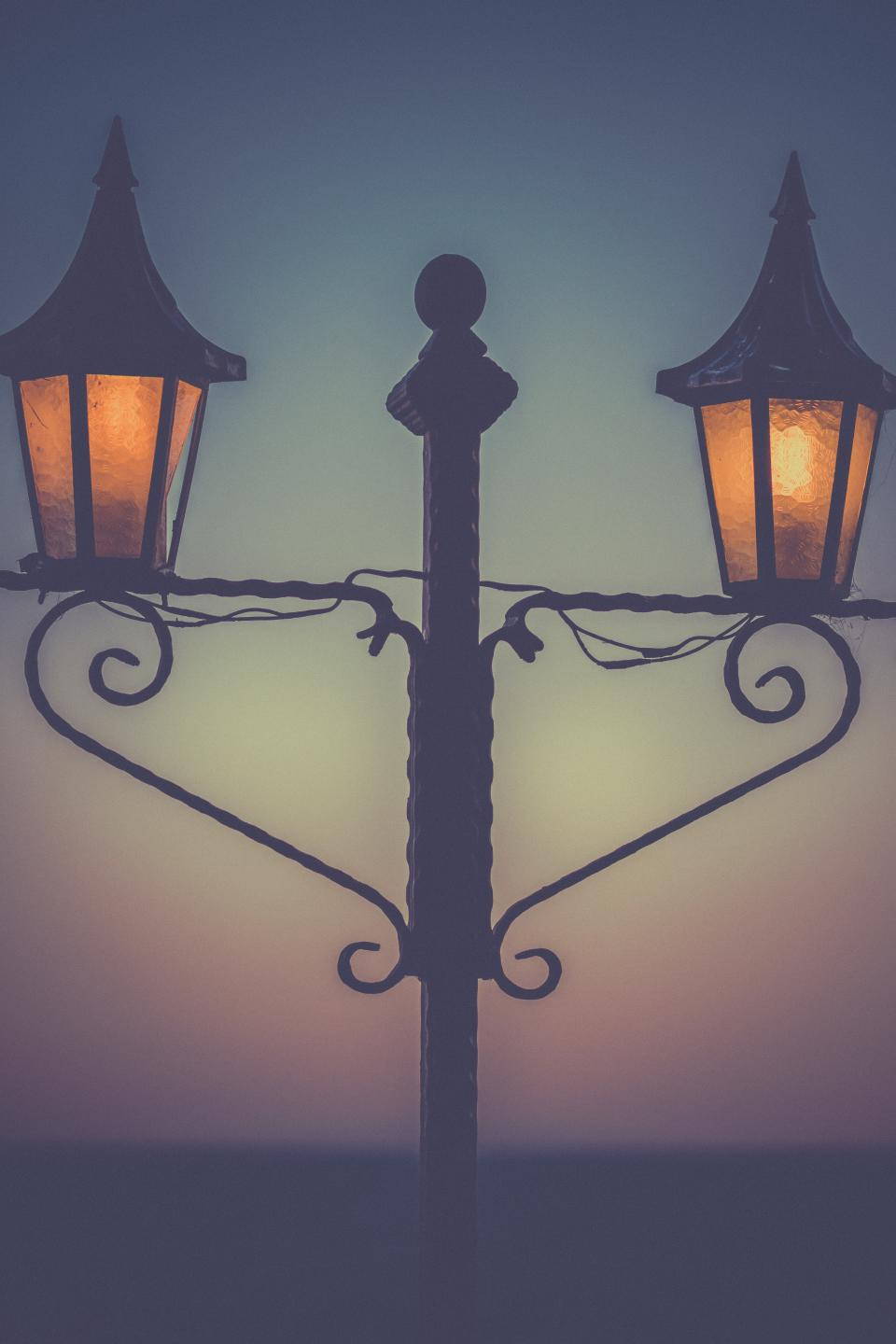 street lights, lamp posts, night, dark, evening, silhouette, shadow