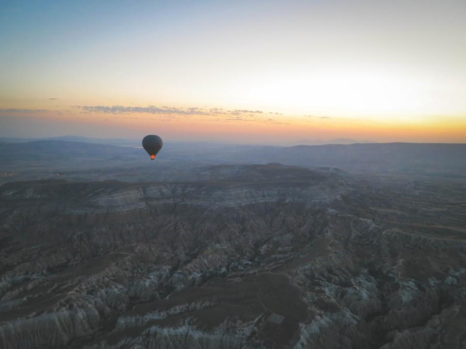 hot air balloon, landscape, nature, mountains, hills, rocks, sunset, sky, view, Cappadocia, Turkey, aerial