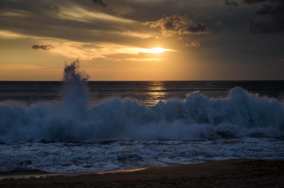 sunset, dusk, beach, sand, waves, ocean, sea, water, sky