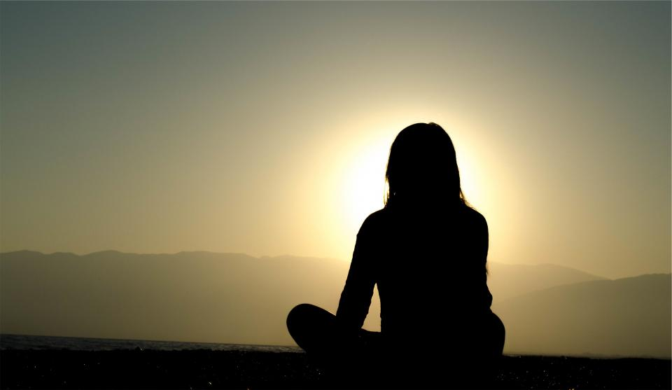 sunset, dusk, silhouette, shadow, girl, woman, people, meditating, sky