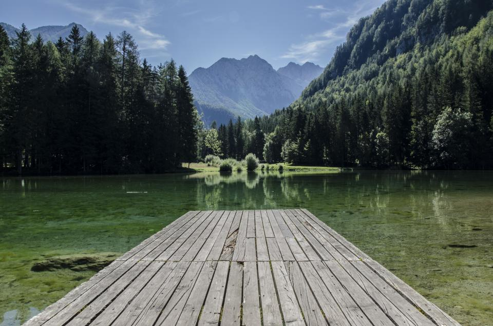 sky, mountains, trees, outdoors, nature, water, green, wood, dock, planks