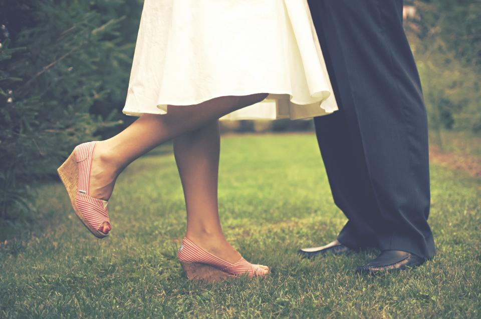 bride, groom, marriage, couple, love, romance, wedges, grass, people