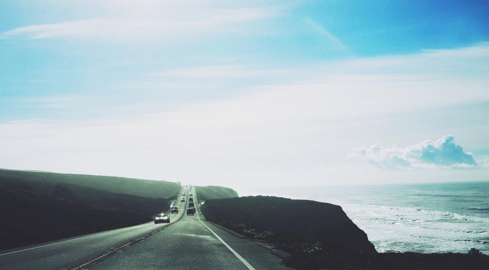 road, highway, cars, ocean, sea, waves, blue, sky, pavement