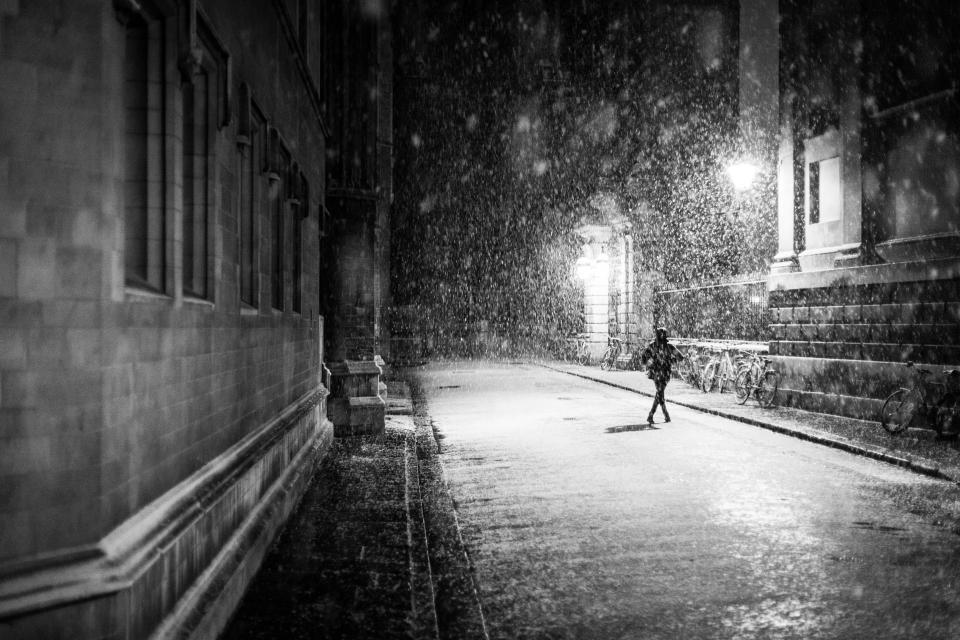 city, streets, roads, night, dark, snow, people, walking, buildings
