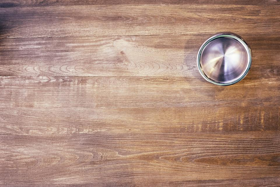 wood, table, bowl, stainless steel