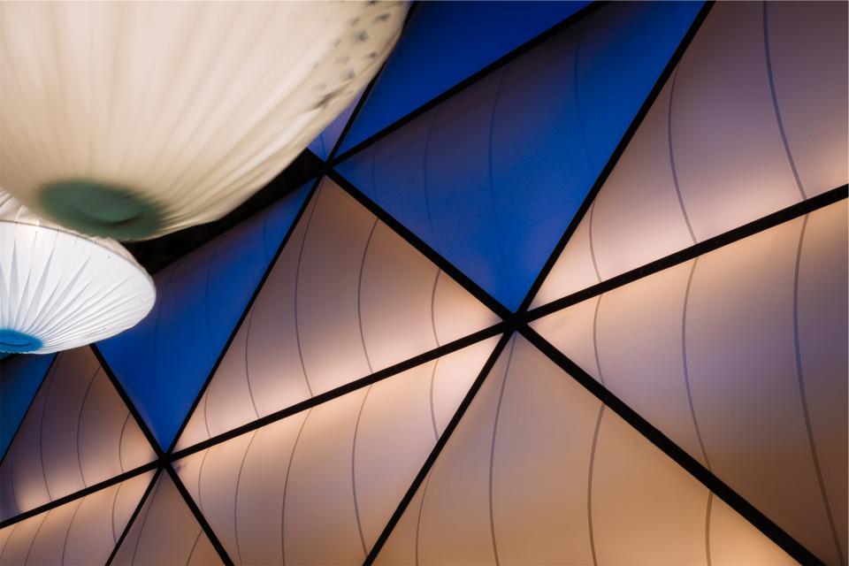 lights, interior design, decor, triangles