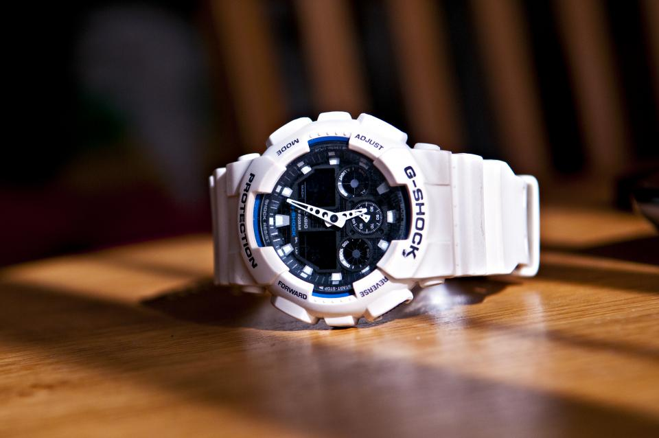 g-shock, watch, white, objects, clock, time