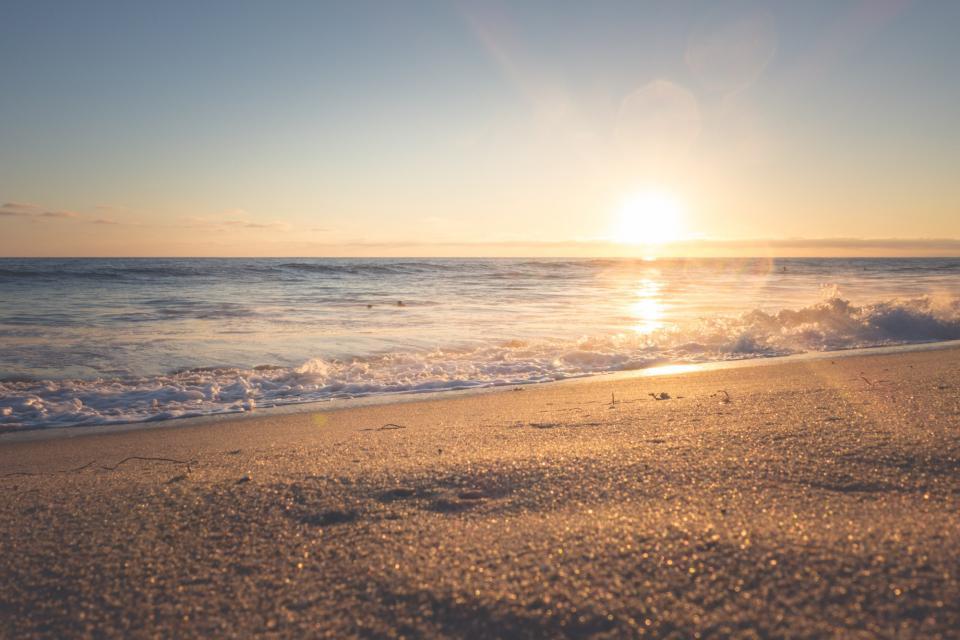 beach, sand, shore, waves, ocean, sea, sunset, sunshine