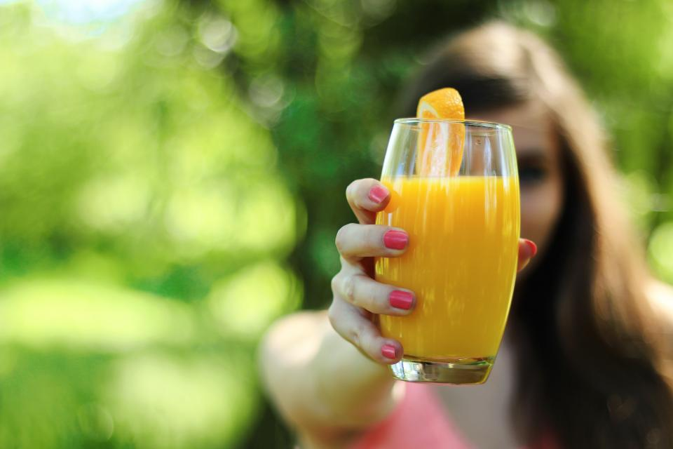 orange juice, glass, hands, fingers, nail polish, girl