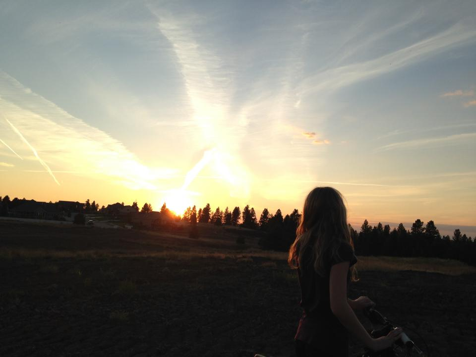 sunset, girl, woman, bike, bicycle, dusk, sky, trees, fields, rural, long hair