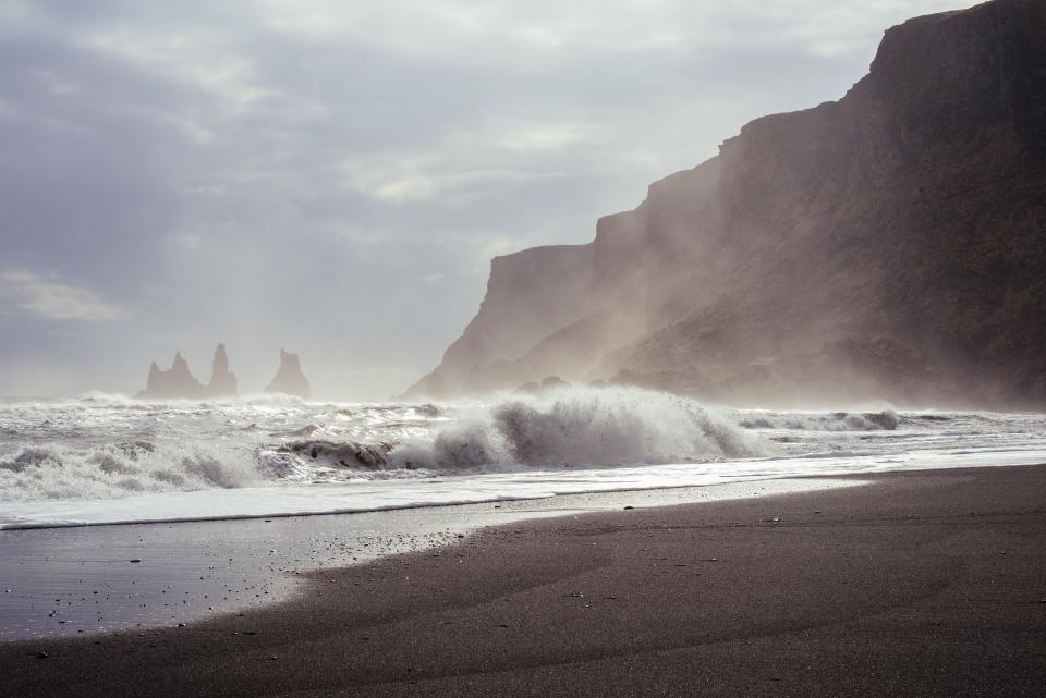 sky, clouds, sunshine, mountains, cliffs, ocean, water, waves, beach, sand, hills