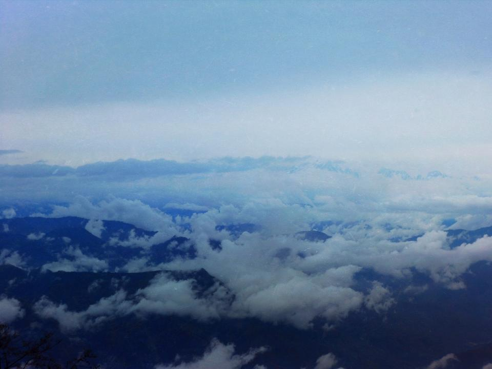 mountains, peaks, above the clouds, sky