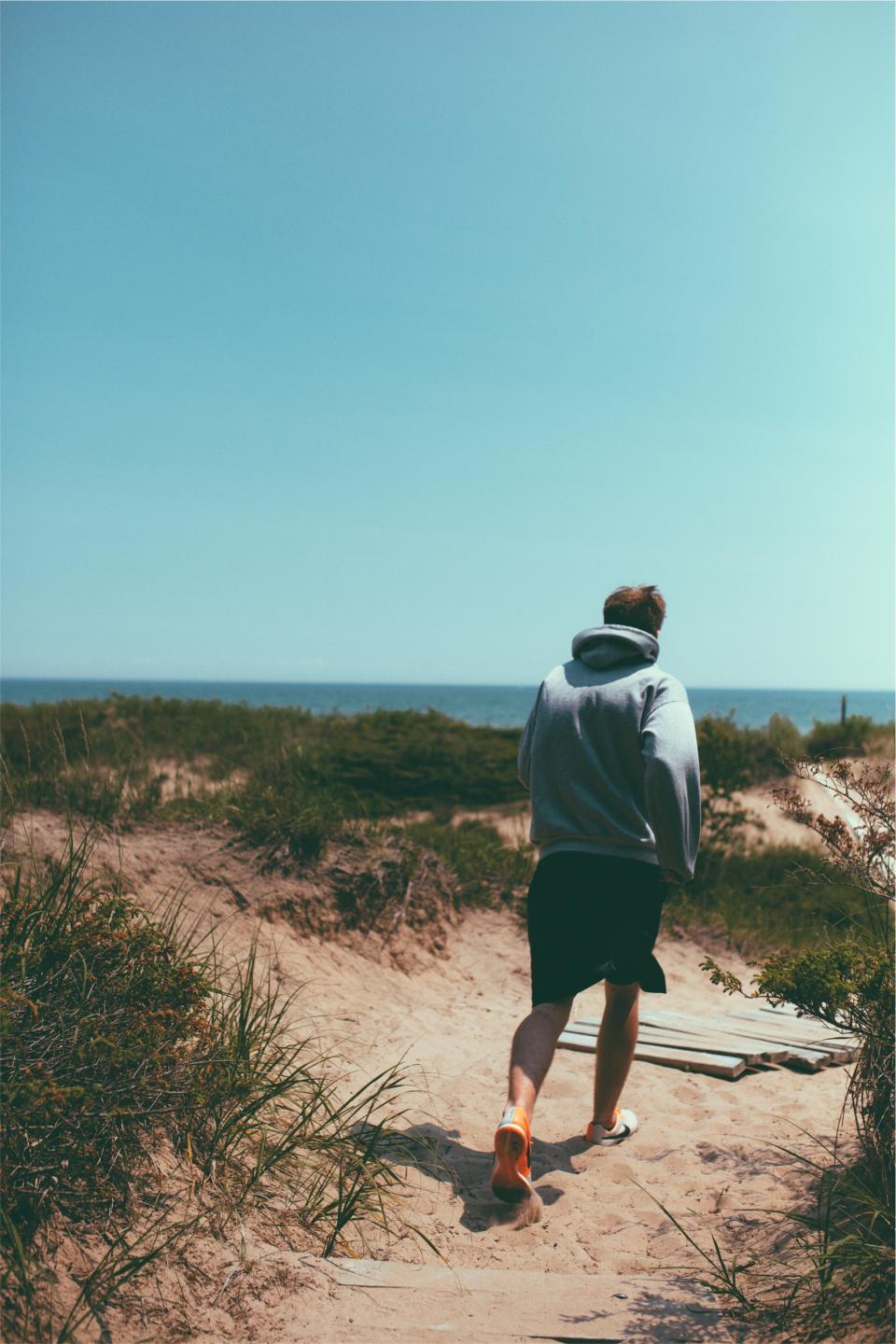running, fitness, exercise, shoes, sneakers, shorts, hoodie, beach, sand, sunshine, sunny, blue, sky