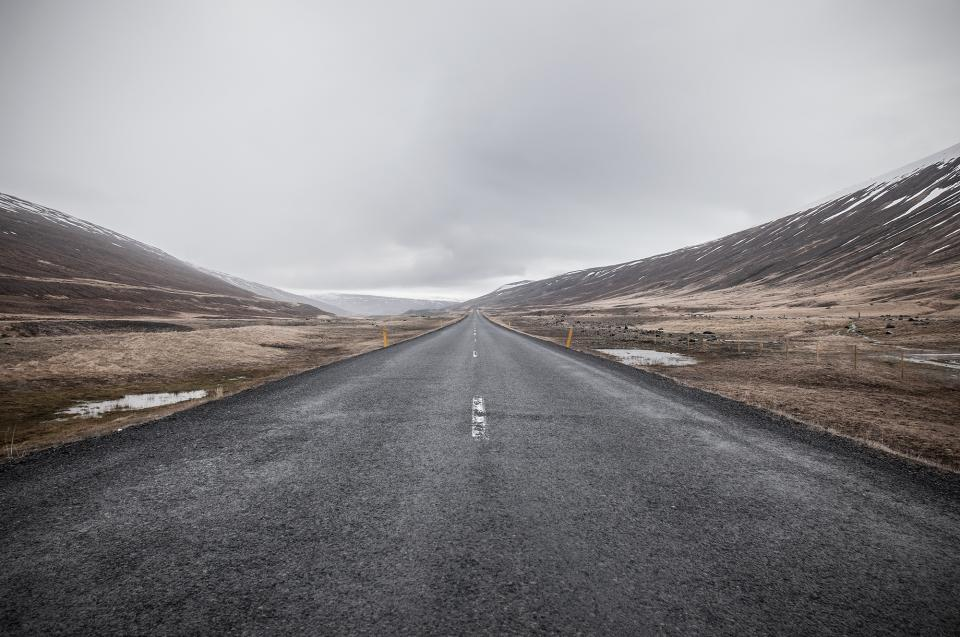 grey, sky, road, cold, mountains, fields, puddle, damp