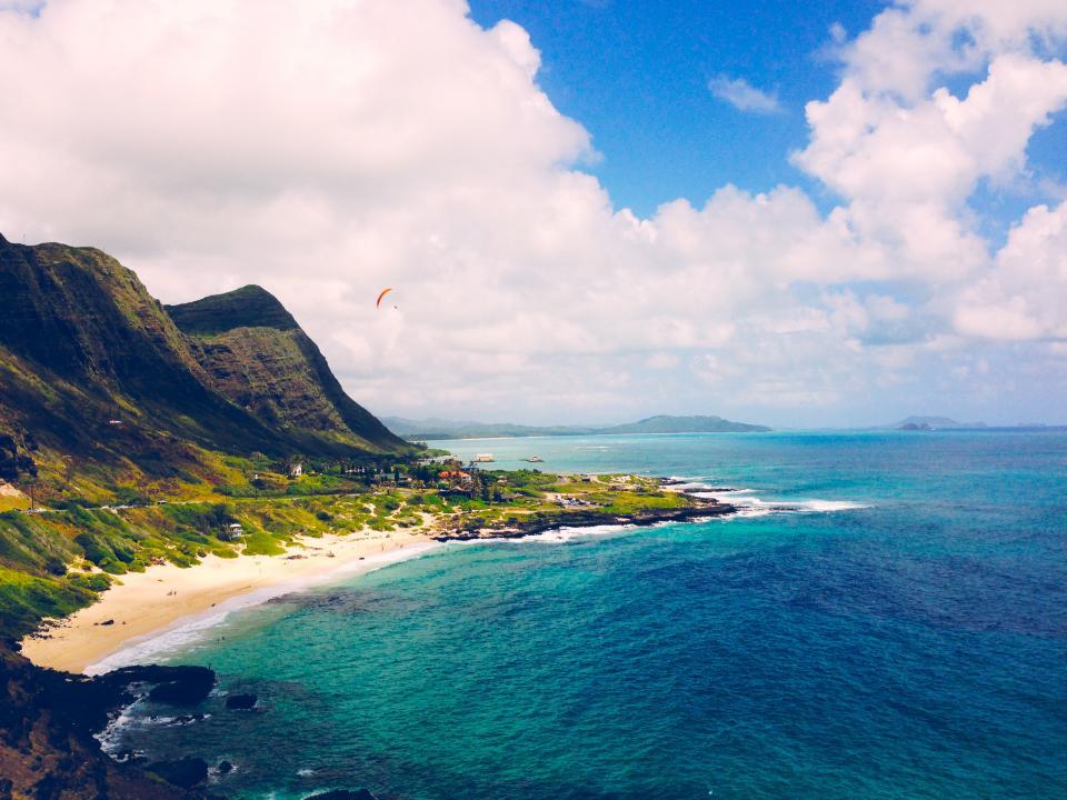 beach, sand, ocean, sea, water, tropical, vacation, mountains, rocks, cliffs, blue, sky, clouds, paradise, paragliding