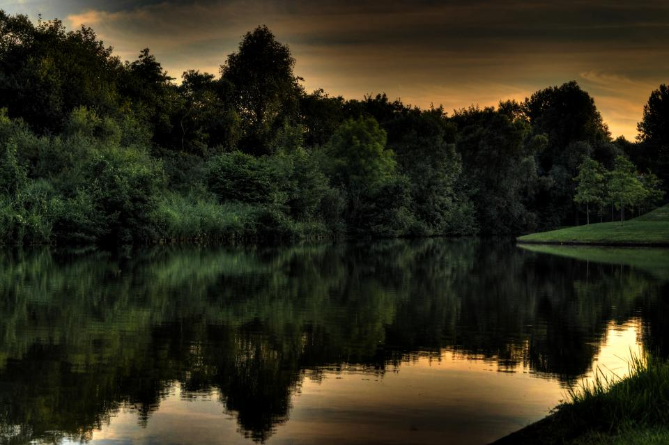 lake, water, reflection, trees, sky, dark, dusk, nature, hdr
