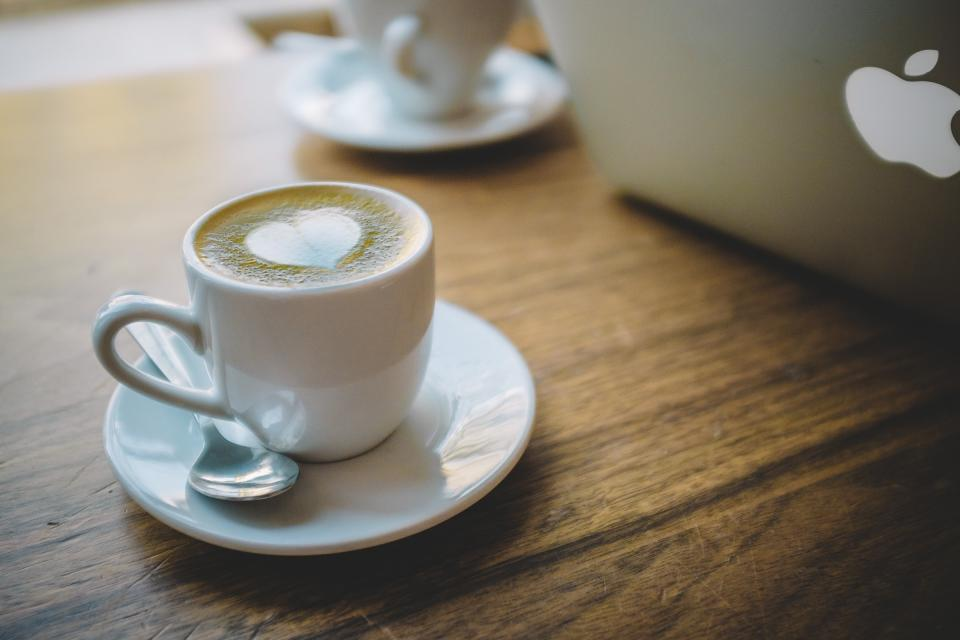 coffee, espresso, heart, latte, cappuccino, desk, macbook, laptop, office