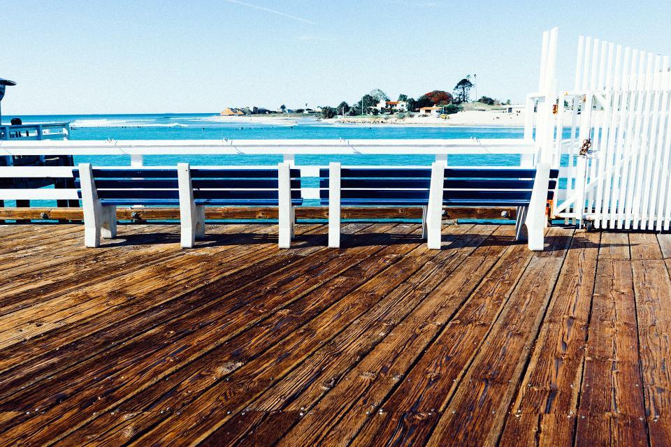 pier, dock, wood, benches, summer, sunshine, sunny, ocean, sea