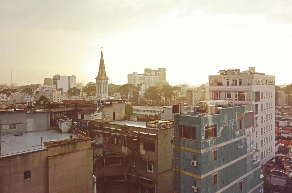 sky, city, buildings, rooftops, cross, church, town, windows, ladders, view